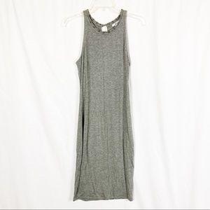 Bar III gray beaded neckline maxi dress S